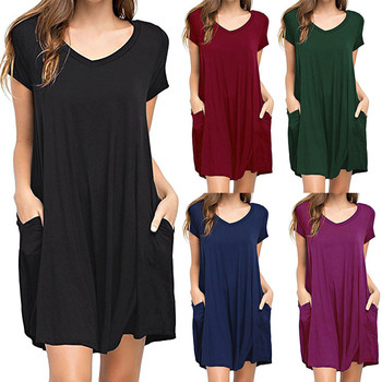 Women Dress Summer Casual Solid Loose Dress Plus Size Plain Simple Pocket T shirt beach Dress Short Dresses Vestido 2018