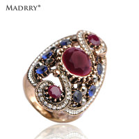Madrry Vintage Sculpture Flowers Rings For Women Men Antique Gold Color Red Resin Finger Rings Crystal