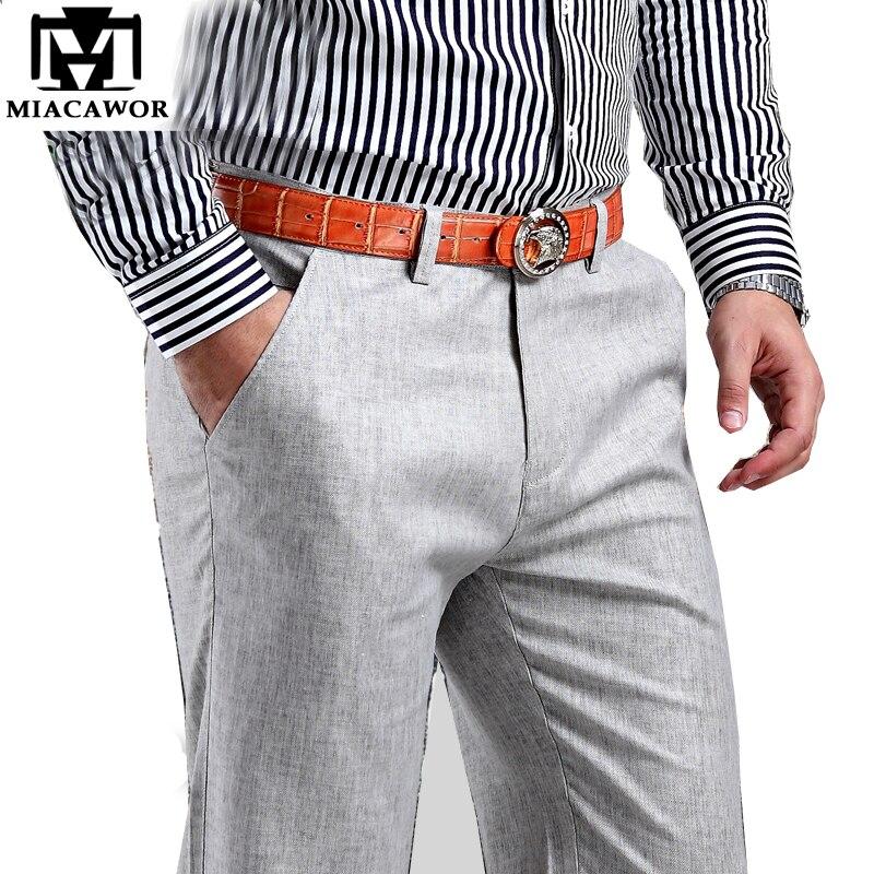 Plus Size 38 New 2019 Men Summer Linen Pants Cotton Casual Trousers,Breathable,High Quality Men's Pants