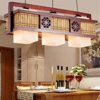 Китайский стиль 2/3 головки Подвеска для кафе лампы бамбуковые деревянные лампы антикварные лампы для ресторанов освещение подвесной свети