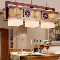 Chinese style 2/3heads Cafe pendant lamps bamboo wood lamps antique restaurants lamps lighting pendant light ZA81417