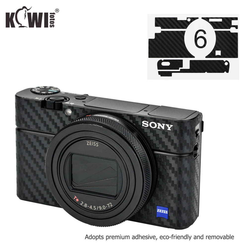KIWIFOTOS KS-RX100VICF Eco-friendly And Removable Camera Carbon Fiber Film With Premium Adhesive For Sony RX100 VI