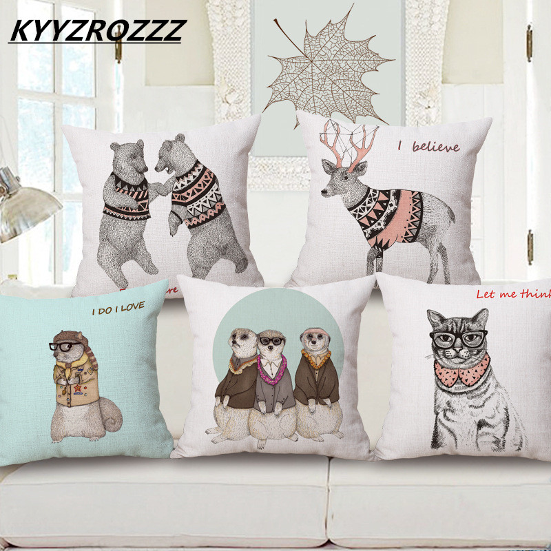 Beauty Whole Wedding Gift Indian Tribal Headdress Personality Dog Wolf Cushion Cover Home Office Sofa Decorative Pillow Case