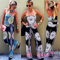 Bodysuit  Women Print  Sexy Jumpsuit Overalls Fashion Sleeveless Loose Slim Rompers With Wide Leg Long Pants combinaison femme