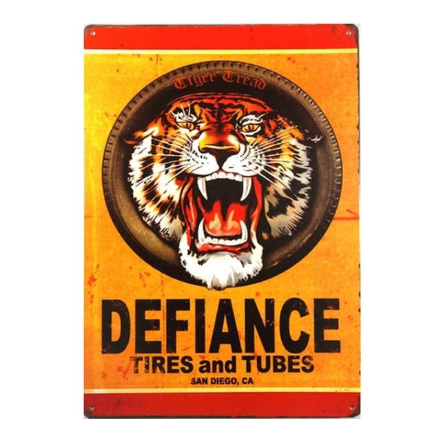 Vintage Home Decor Defiance Tires and Tubes Vintage Metal Sign Tiger ...