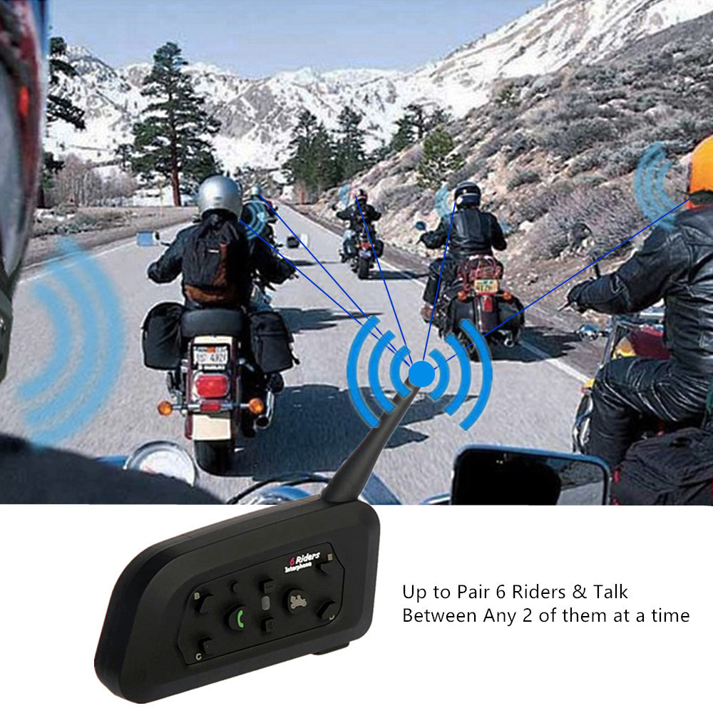 2PCS Motorcycle Helmet Headset Intercom 1200m Bluetooth Helmet Intercom For 6 Riders Wireless Intercomunicador Interphone MP3 - 5