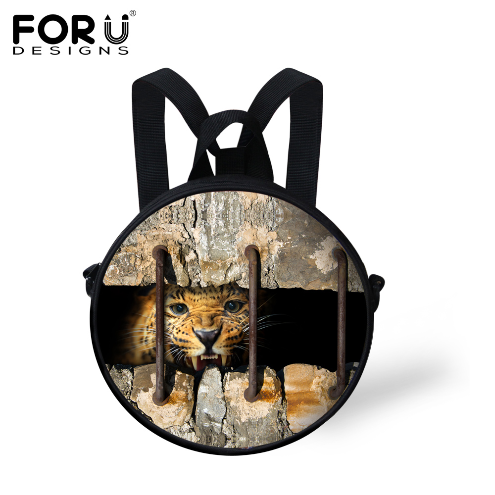 Cool Round 3D Animal Children School Bags Small Kids Schoolbag Leopard Tiger Print Boys Kindergarten Book Bags Mochila