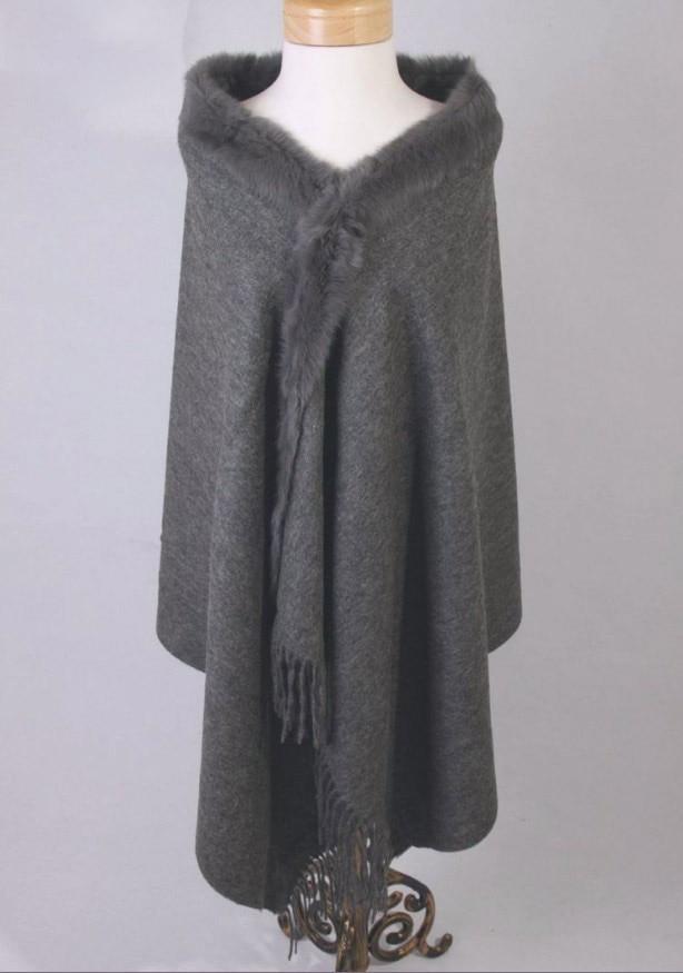 Hot Sale Gray Women's 100% Wool Cape High Quality Rabbit Fur Cashmere Stole Solid Color Poncho Wrap Oversize 180 x 70cm 011610