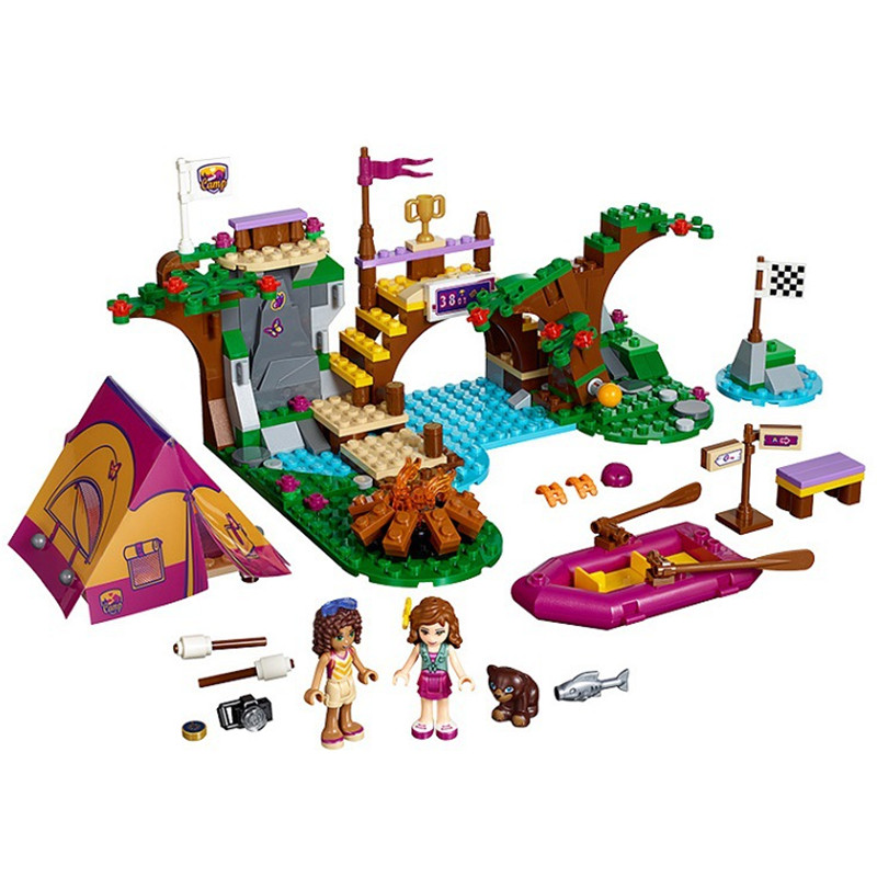 цены  10493 Friends Adventure Camp Rafting Building Blocks Set Model Compatible with lego Friends Brick Girl Toys