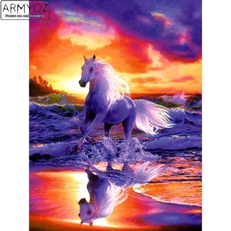 Fantasy,hobby,Needlework 5D diamond embroidery full Square diamond home decor mosaic pattern diamond painting Sunset horse