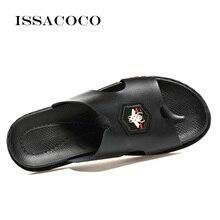ISSACOCO Genuine Leather Mens Slippers Men Flip Flops High Quality Beach Sandals Non-slip Male Home Sandalias