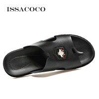 ISSACOCO Genuine Leather Men's Slippers Men Flip Flops High Quality Beach Sandals Non slip Male Slippers Home Slippers Sandalias
