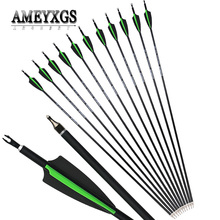 10/20pcs Spine 500 30inch Mix Carbon Arrow Rubber Feathers For Outdoor Hunting Sports Shooting Practice Arcehry Accessories