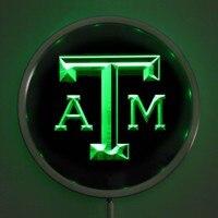 Rs-0110 텍사스 A & M Aggies 네온 라운드 표지판 25 센치메터/10 인치 바 기호 RGB