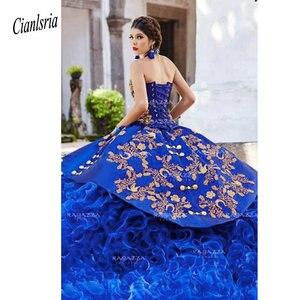 Image 2 - Vestido de baile azul real de quinceañera, sin tirantes, cuello con cuentas en cascada, volantes, 16 vestidos, apliques de Organza, mascarada