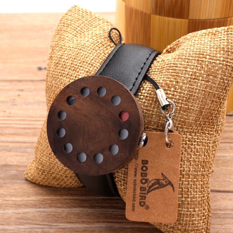BOBOBIRD 12holes Design Wood Watches Mens Watches Top Brand Luxury Watch With Real Leather Straps as