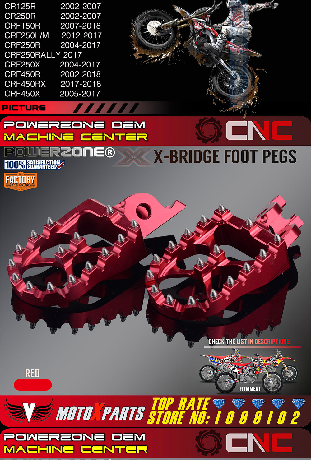 Billet MX Wide Foot Pegs Rests Pedals X Bridge CR125 /250 CRF450X CRF230F  CRF250R L M CRF250X CRF450R Dirt Bike Motocross Enduro
