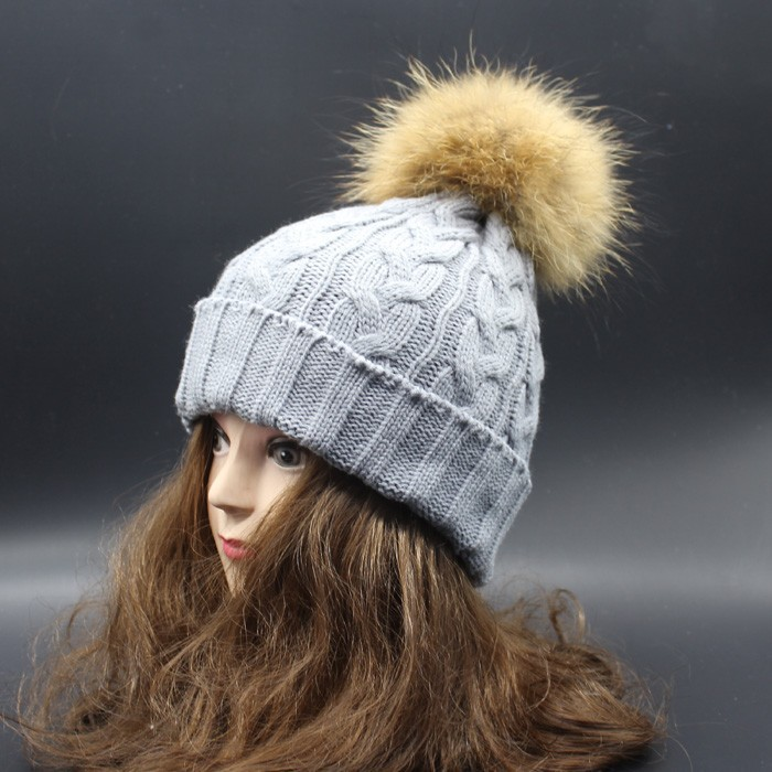 2015 Winter Autumn Fashion Women Wool Knitted Beanies Caps 100% Real Raccoon Fur Pompom Beanie Hats For Women autumn winter beanie fur hat knitted wool cap with raccoon fur pompom skullies caps ladies knit winter hats for women beanies