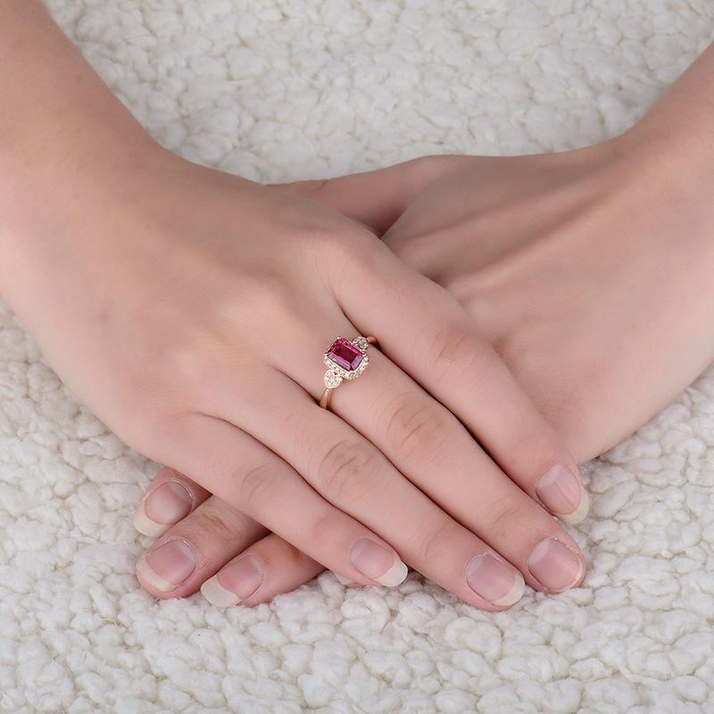 Prirodni smaragdno izrezani turmalinski vjenčani prstenovi čvrsti - Fine nakit - Foto 5