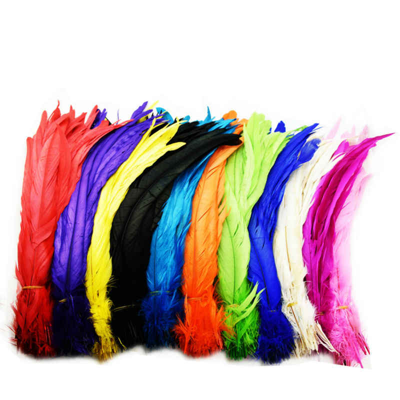 24pcs/lot Length 30-35cm Colorful Dyeing Chicken Rooster Tail Feathers India Hair Decoration Wedding Clothes Head Ornaments IF33