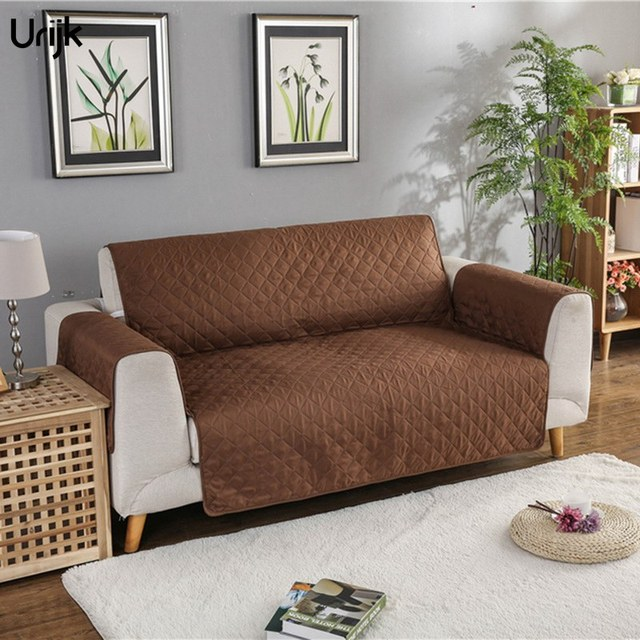 Urijk 1pc Universal One Piece Sofa Covers For Living Room Anti Slip Solid Color