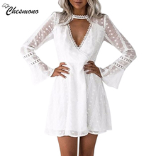 casual hollow out lace dress women Elegant flare long sleeve v neck midi white dress Autumn chic party sexy dress vestidos robe
