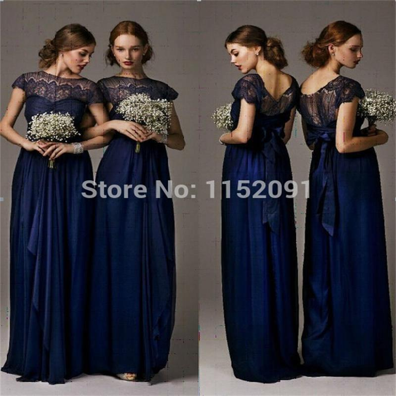 Short Sleeve Lace Wedding Dresses 2016 Chiffon Simple: Navy Blue Lace Short Sleeve Long Bridesmaid Dresses 2016