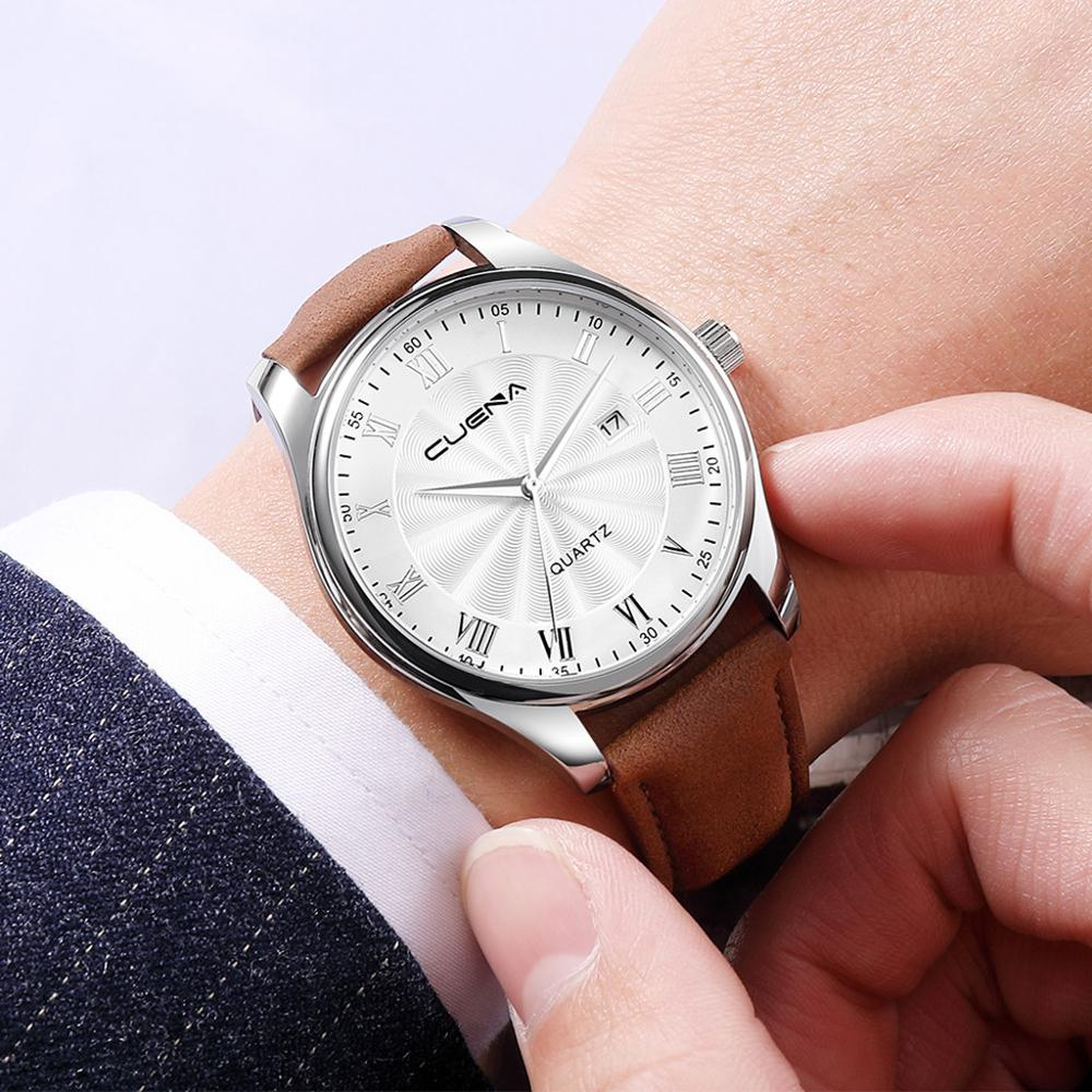 CUENA Men's Watches Casual Fashion Business Date Analog Quartz Watch Stainless Steel Case Leather Band Relogio Masculino A40