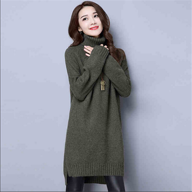 Sweater Women Dress Fashion High Collar Sweater Large Size