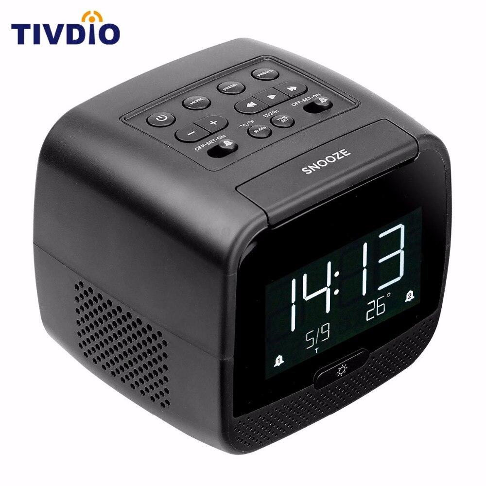 TIVDIO CL-11B Digital Bluetooth Speaker Dual Alarm Clock FM Radio Dual USB Chargers With Sleep Timer Snooze Temperature Display ld752b wireless bluetooth speaker screen amplifier clock alarm fm radio