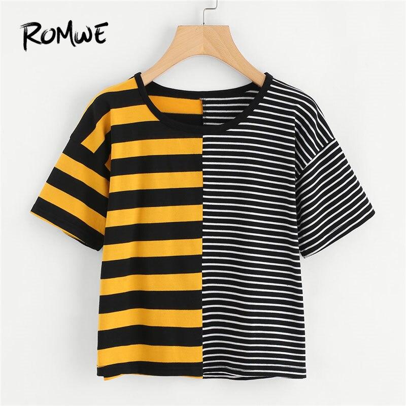 f498c339d7 ROMWE Casual T shirts Women Summer Contrast Striped Tee Multicolor Summer Basic  T-shirt Short Sleeve Women Top