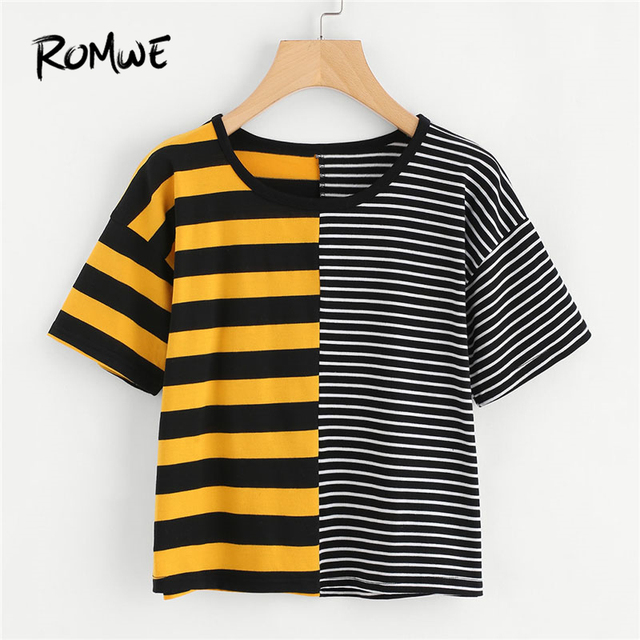 950301e1a3 ROMWE Contrast Striped Tee Shirt 2019 Summer Round Neck Short Sleeve Casual  Female Top Multicolor Stretchy
