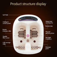 SUNWTR Electric Suring Heating Deep Foot Bath Fully Automatic Roller Spa Tai Chi Massage Foot Basin
