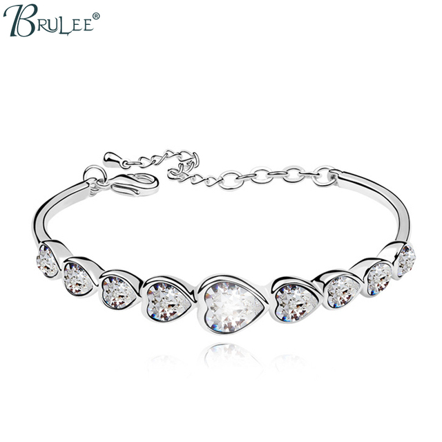 2017 New Fashion Wedding Jewelry Wholesal Crystal From Swarovski Bracelets For Women Heart Shape Bangles