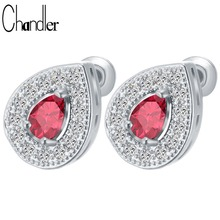 Gold Silver Waterdrop Tear Red Crystal Studs Earrings For Women With SWA Elegent Infinity Good Quality Brand Fashion Jewelry(China)