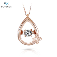 DovEggs 10K Rose Gold 0.1carat Diamond Pendant Dancing Setting Diamond Necklace For Women with Rose Gold Link Chains Jewelry