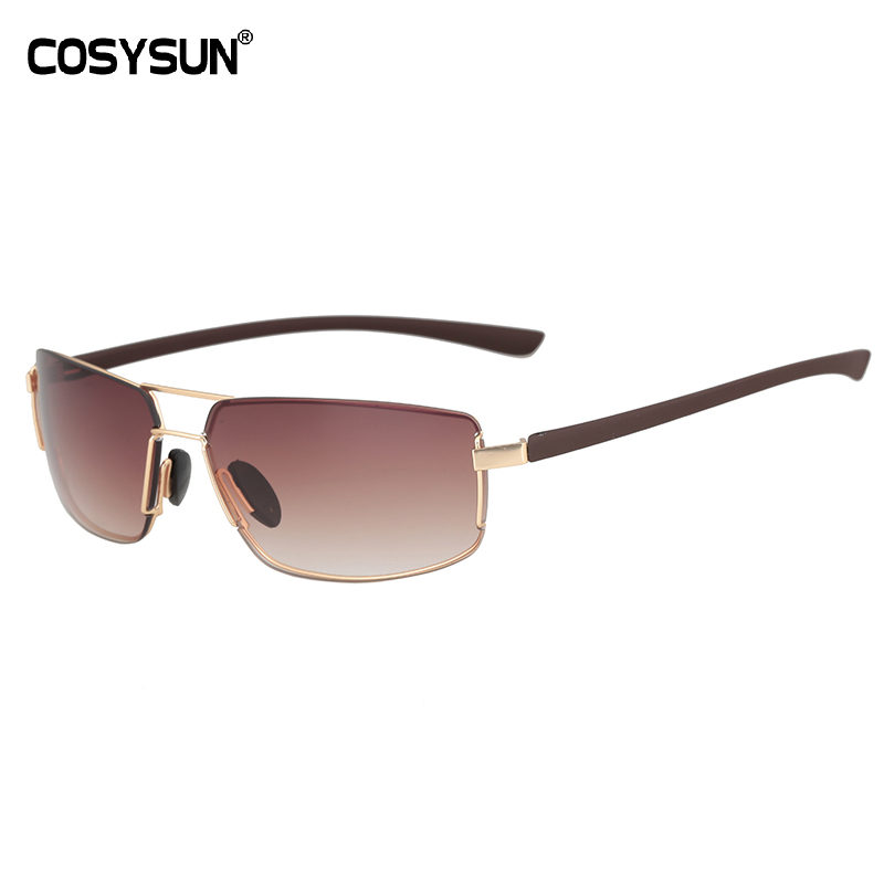 2018 COSYSUN Hommes lunettes de Soleil UV400 lunettes de Soleil mâle  Gradient Objectif concepteur de marque 12705df1b593