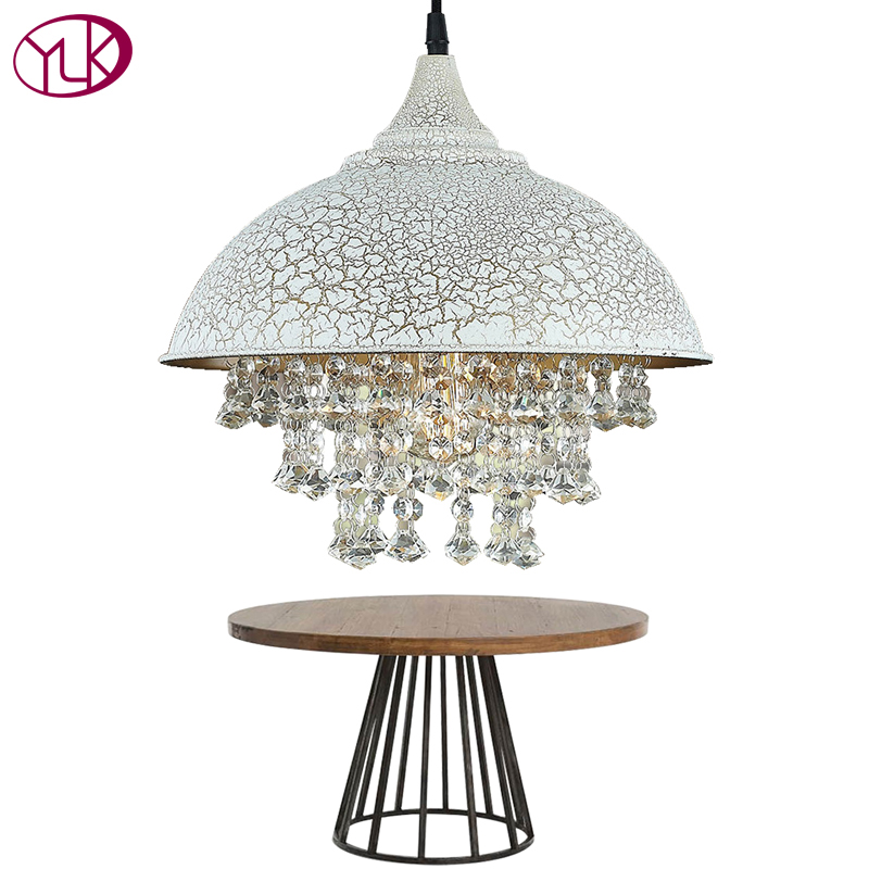 Youlaike White Vintage Industrial Pendant Light Nordic Retro Lights Iron Lampshade Loft Edison Lamp Dining Room Crystal Lighting