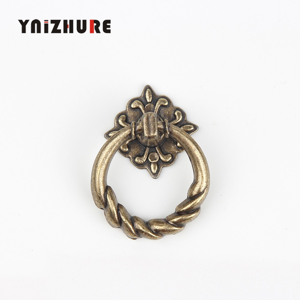 8Pcs Vintage Alloy Cabinet Handles Furniture Knobs Kitchen Drawer Cupboard Chinese Ring Pull Handles,Bronze Tone