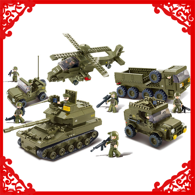 SLUBAN 0311 996Pcs Military K9 Tank Gunship Jeep Car Building Block Compatible Legoe  Figure Toys Gift For Children 0367 sluban 678pcs city series international airport model building blocks enlighten figure toys for children compatible legoe