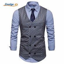 Covrlge New Mens Gilet Homme Mariage Formal Fancy Printing Wedding Sleeveless Waistcoat Suit Vest Men Colete Masculino MWX044