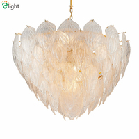 Post Modern Plate Gold Led Pendant Light Glass Leaves Suspension Lamp Indoor Fixutres Lighting Foyer Lustre