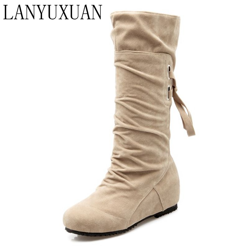 2017 Sale Botas Mujer Plus Big Size 30-52 Women Boots Winter Spring Autumn New Fashion Shoes Increasing Comfortable Casual 506