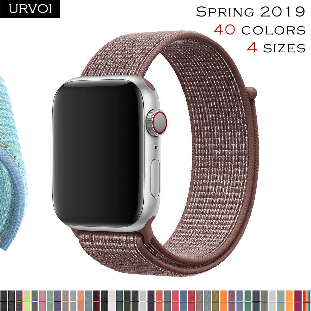 URVOI 2019 Sport loop for apple watch series 4 3 2 1 band for iwatch NIKE+ breathabe strap hook fastener woven nylon 40 44