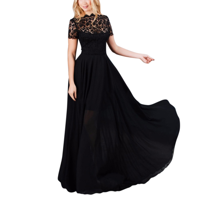 Sexy Women Lady Prom Long Dress Short Sleeve Black Party Ball Lace Dress Party Maxi Dress Full-Length Summer Evening Gown