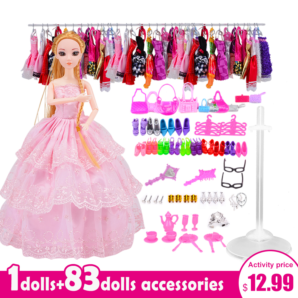 Girl Doll with 83 Accessories DIY Dressup Doll Toys Set Gift Box Fashionista Princess DIY Dolls Accessories for barbie