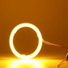 Keenpower Cabeça círculo de luz do farol do carro de som modificação cob anjo olho abertura angel eye luz de nevoeiro luz amarela