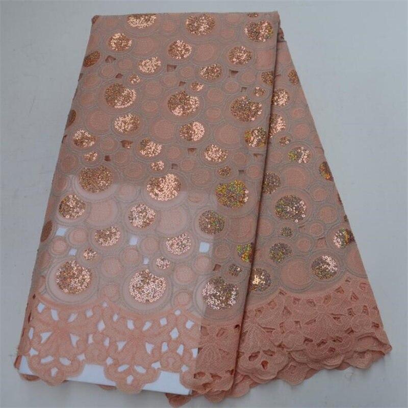 Нигерии кружевной ткани 2018 Африканский органзы Ткань блестками ткань новый дизайн ткань органза с блестками