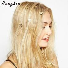 2017 New Brand Hairpin Gold Star Hair Pin Fine Jewelry Hairgrips Hair Clip For Women Girls Head Accessories Wedding