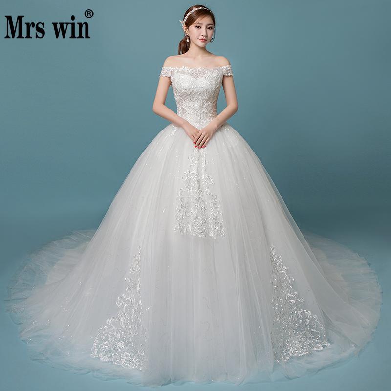 Robe De Mariee Grande Taille 2018 New Mrs Win Elegant Boat Neck Sweep Train Ball Gown Vintage Wedding Dresses Vestido De Noiva